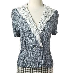 Vintage 1980s Lace Collar Floral Blouse